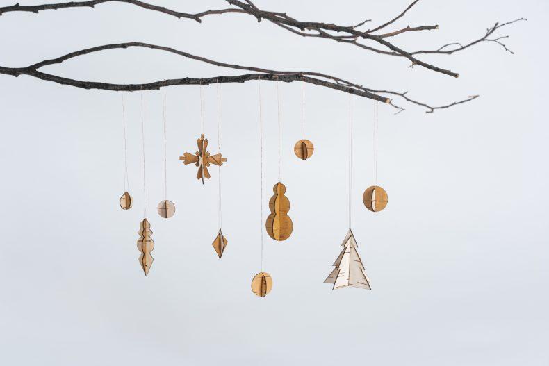 Anhänger Birken Weihnachten Holz
