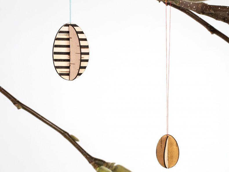 DIY Osterschmuck aus Birkenrinde mit streifen Muster
