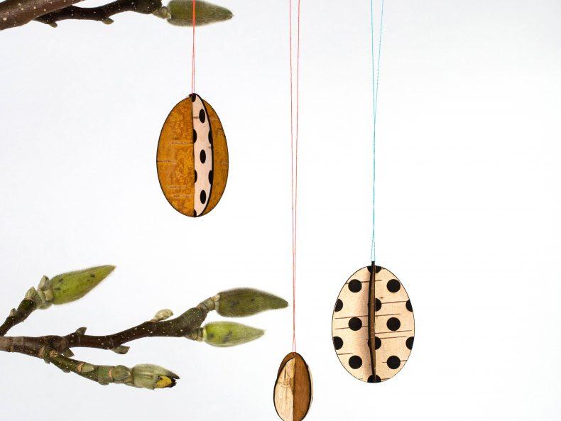 DIY Osterschmuck aus Birkenrinde mit Punkt Muster