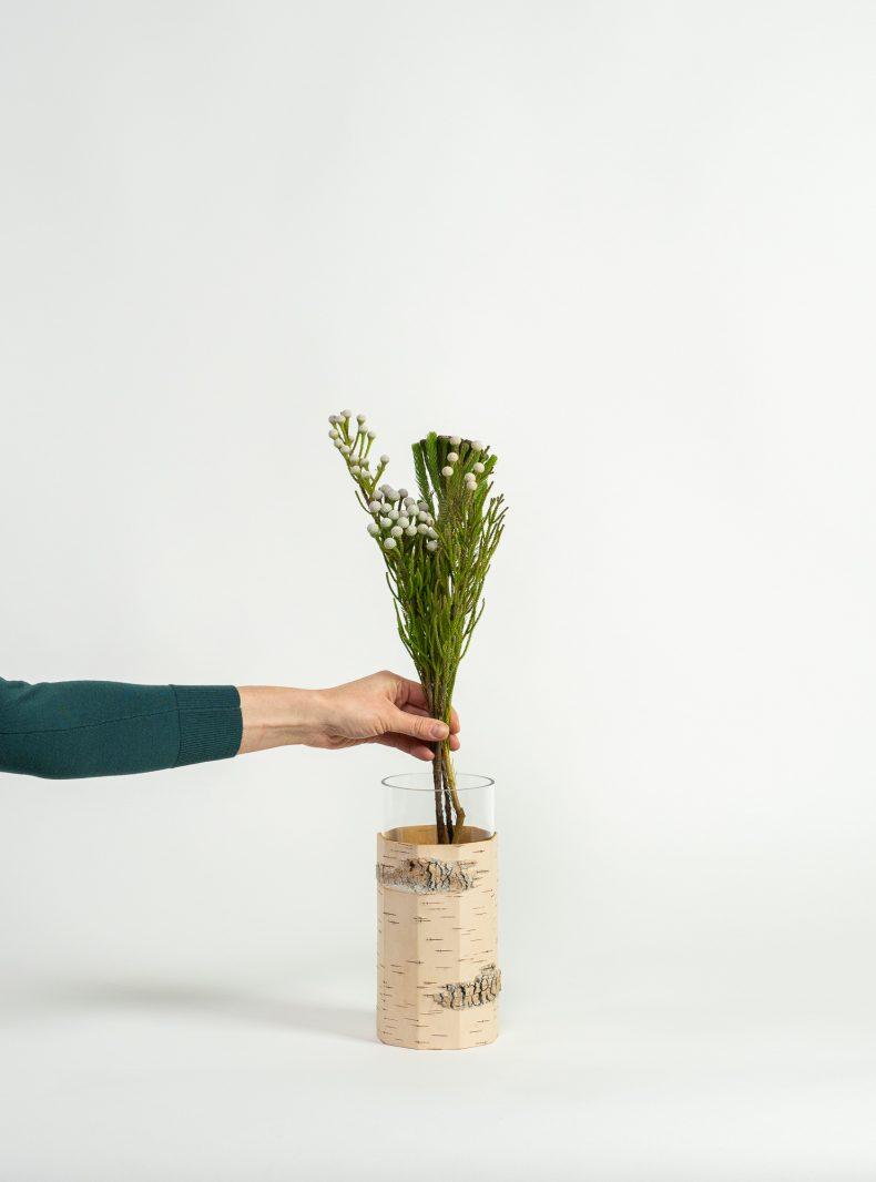 Deko Blumenvase aus Birkenrinde und Glas von MOYA