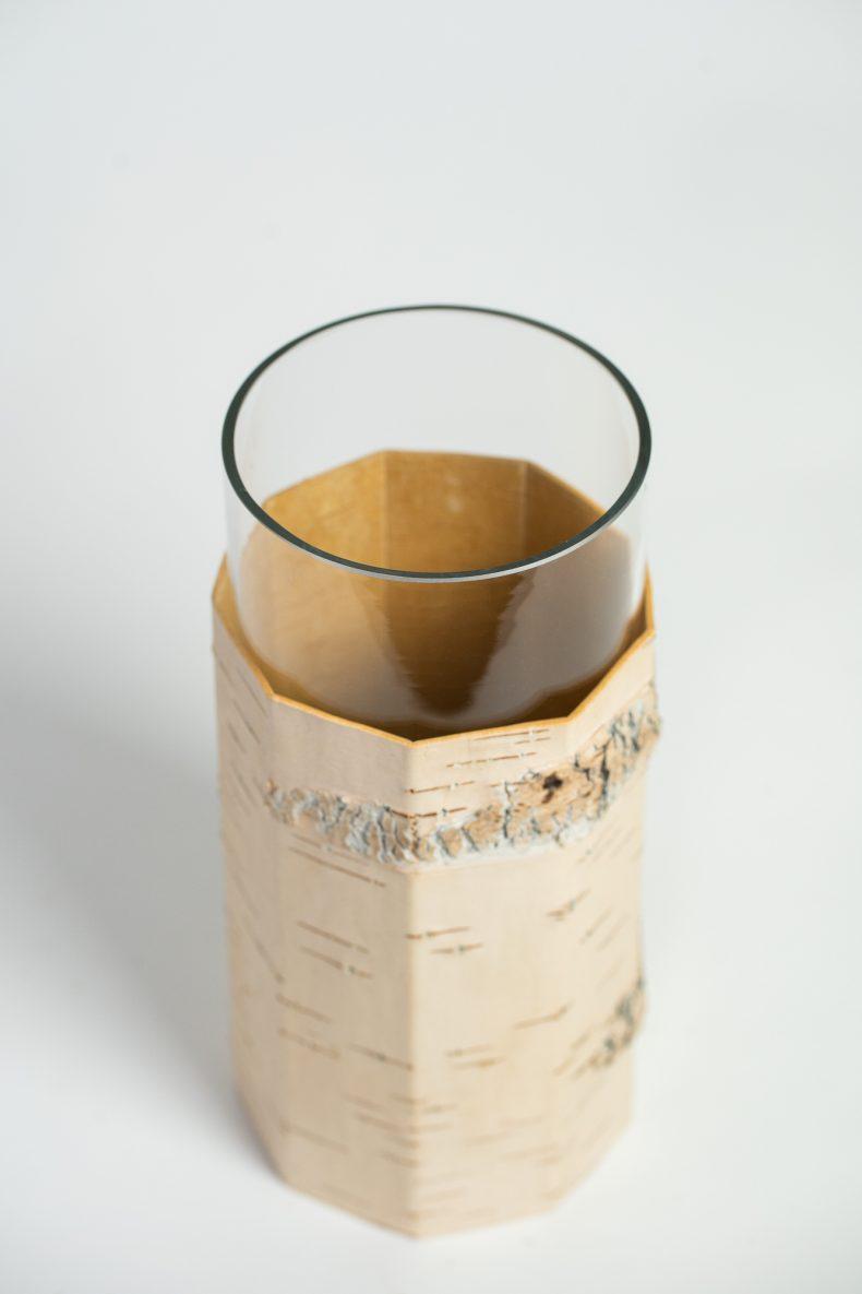 Blumenvase aus Birkenrinde und Glas von MOYA