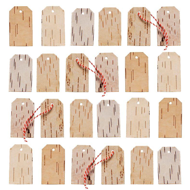 advent calendar wood gift tags made of birch bark