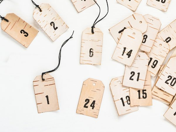 advent calender birch number pendants for hygge christmas