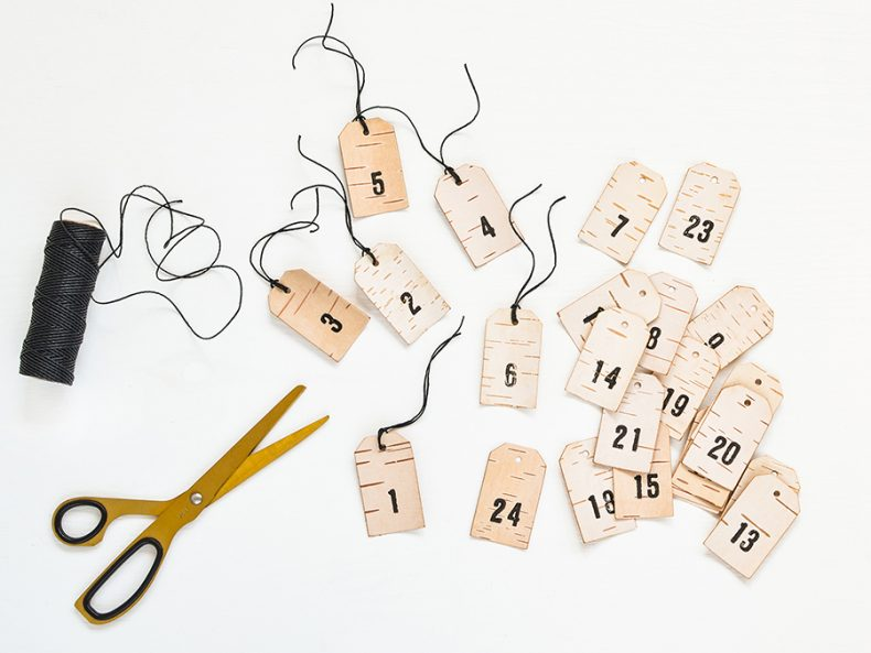 advent calender birch number pendants for christmastime